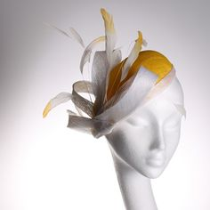 Yellow and White Sinamay Beret by CoutureHatsbyBeth on Etsy, $155.00