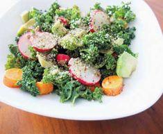Radish, Kale & Hemp-seed Salad with Lemon-Honey Dressing Raw Food Recipes, New Recipes, Hemp Recipe, Chou Kale, Honey Dressing, Salad Ingredients, Hemp Seeds, Good Fats, Food Print