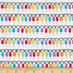 Michael Miller Rainbow Rainbow Girls Rainbow from @fabricdotcom  From Michael Miller, this cotton print fabric features rows of stick figure doodles and is perfect for quilting, apparel and home decor accents. Colors include black, white, lavender, teal, green, yellow, orange and red.