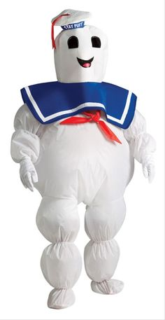 Stay Puft Kids Inflatable Ghostbuster Costume This is a Stay Puft costume from Ghostbusters. This guy is the big freaky incarnation of the Sumerian god that the Ghostbusters have to defeat. This is an inflatable costume with four pieces to it. The jumpsuit is the inflatable part of the costume. It is elasticized at the cuffs and hem of the pants as well as around the calves and forearms. #yyc #calgary #costume #ghostbusters #scifi #children