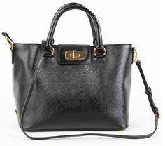 blue and grey pradas - Prada Logo Leather Bag BR4193 - Black Replica Prada bag cheap ...