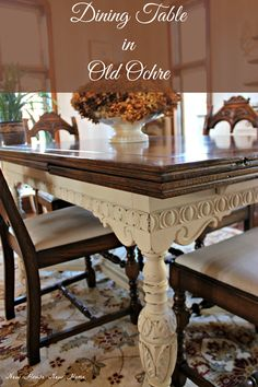 A 1930's Jacobean dining table becomes the latest painted furniture piece in this new house using chalk paint by Annie Sloan in Old Ochre.