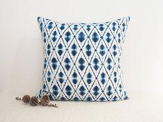 """Indigo pillow (16""""x16""""), shibori square pillow"""