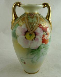 Antique Nippon Porcelain Vase Poppies from Ornaments at thevintagevillage.com