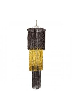 3 Tier Black and Gold Shimmer Chandelier - Christmas & Winter Decorations
