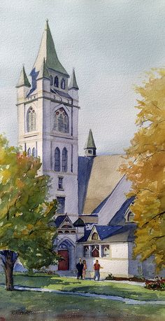 "Centennial Church, Granville, OH  |  20"" x 10"" watercolor."