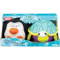 Poof-Slinky Penguin and Turtle Bath Splashers, 2-Pack, Multicolor