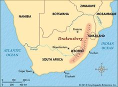 The Drakensberg mountain range covers a large area in the eastern part of South Africa. Kids Homework, Port Elizabeth, Pretoria, Mountain Range, Kids Online, Writing A Book, South Africa, Meant To Be, Ocean