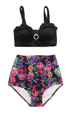 Black Top and Flower Floral Flora High Waisted by venderstore