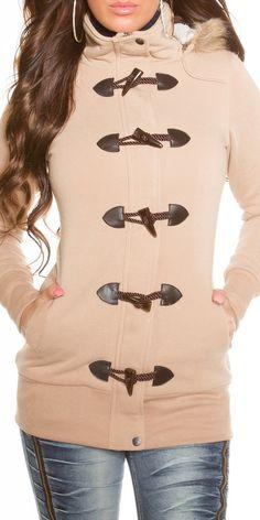 Dámský kabátek uvnitř vyteplený kožíškem, s patenty a odnímatelnou kapucí - v nabídce ve 4 barvách a až do velikosti XL