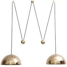 Florian Schulz Double Posa Brass Pendant Lamp with Side Counter Weights | From a unique collection of antique and modern chandeliers and pendants at https://www.1stdibs.com/furniture/lighting/chandeliers-pendant-lights/