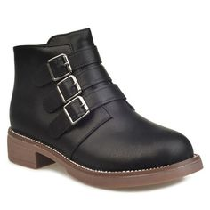 Zipper Flat Heel Buckles Ankle Boots #>=#>=#>=#>=#> Click on the pin to check out discount price, color, size, shipping, etc. Save and like it!