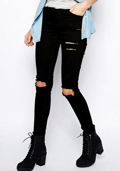 Black Slim Cut Out Pants Ripped Jeans - Crystalline