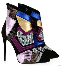newest pointed toe name brand patchwork bling bling crystal booties stiletto heel multicolor ankle boots Leather High Heels, High Heel Boots, Heeled Boots, Bootie Boots, Ankle Boots, Stilettos, Stiletto Heels, Shoes Heels, Giuseppe Zanotti Heels