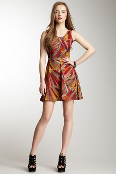 Sleeveless Feather Print Skater Dress by Angie on @HauteLook