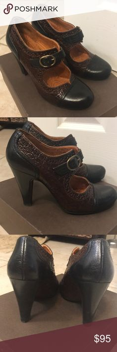 """Chie Mihara Vedet Heels Size 37.  US size 7.  All leather gorgeous Chie Mihara Heels.  Chocolate brown and black leather.  Buckle closure.  Leather soles and insoles.  Original box and dust bag. Only worn once- in excellent condition.   3.75"""" heel. Chie Mihara Shoes Heels"""