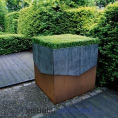Heavy iron urns, galvanised pots or Cor-Ten rusted steel bowls.even baked bean tins. The range of metal containers we might use is massive Landscape Architecture, Landscape Design, Garden Design, Urban Landscape, Modern Landscaping, Garden Landscaping, Container Plants, Container Gardening, Garden Deco
