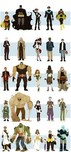 From left to right: Robin, Batman, Catwoman, Nightwing, Batgirl, Alfred Pennyworth, Jim Gordon, Zatana, Lucias Fox, Red Hood, Two Face,  Bane, Poison Ivy, Scarecrow, Hush, The Mad Hatter, Clayface, Harley Quin, The Joker, The Riddler, Ra's Al Gul, Killer Crock, Thalia Al Gul, Rupert Thorn, and Mr. Freeze