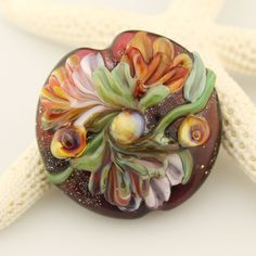 Lampwork Glass Bead,  Floral Lentil Focal, Brown, Green, Peach, Orange  'Autumn Garden' SRA by StoneDesignsbySheila on Etsy
