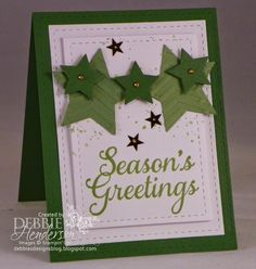 Merry Monday Challenge #116. This week we have a color challenge for you. Stampin' Up! Stars Framelits Dies and Gorgeous Grunge. Debbie Henderson, Debbie's Designs.