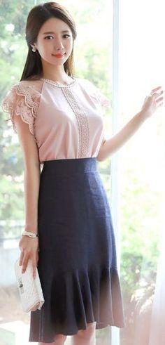 StyleOnme_Linen Mermaid Hem Skirt #linen #skirt #koreanfashion #kstyle #kfashion #summerlook #seoul #elegant #feminine