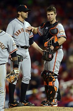 Buster Posey, National League MVP finalist  Barry Zito and Buster Posey give each other pats after the San Francisco Giants starter threw seven plus innings of shut out ball in the Giants 5-0 victory over the St. Louis Cardinals in Game 5 of the National League Championship Series on Friday, Oct. 19, 2012, in St. Louis, Mo. (Karl Mondon/Staff)