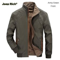 Jeep Rich Mens Casual Reversible Stand Collar Jacket Plus Big Size Spring Autumn Cotton Coat - Banggood Mobile