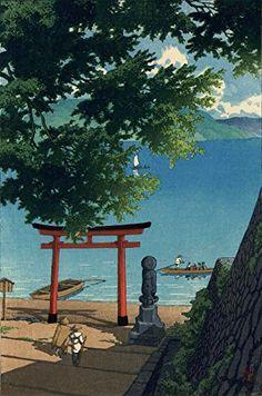 "Japanese Art Print ""Chuzenji Temple at Utagahama Beach"" by Kawase Hasui. Shin Hanga and Art Reproductions http://www.amazon.com/dp/B00VCFDB1C/ref=cm_sw_r_pi_dp_r5Vuwb1P04ZSZ"