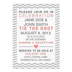 Perfect Chevron Typography - Coral & Grey Wedding Custom Invite