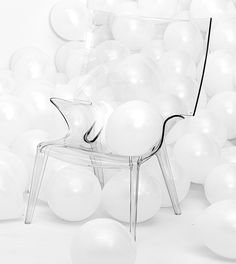 """Lots of balloons, lots of white. The best of both worlds. Chair is called """"Uncle Jack"""", made by Kartell. Uncle Jack, Studios, Balloons, Sunday, Chair, Globes, Domingo, Balloon, Stool"""