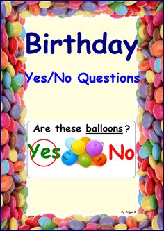 FREE Birthday Yes/No Questions #free #autism #birthday For more resources follow https://www.pinterest.com/angelajuvic/autism-special-education-resources-angie-s-tpt-sto/