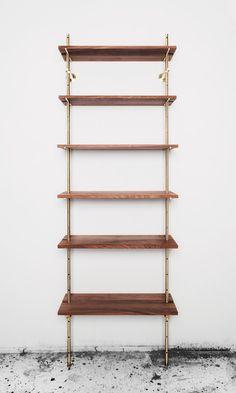 Brass Rail Shelving Wall Mounted Bookshelves, Wall Shelves, Bookcases, Shallow Shelves, Floating Shelves, Whiskey Room, Loft Furniture, Shelving Systems, Modern Shelving