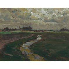 A.Y. Jackson - Dutch Landscape With Stream 7.2 x 9.5 Oil on panel mounted to board (1909) Tom Thomson, Group Of Seven, Light And Shadow, Windmill, Impressionist, Countryside, Netherlands, Paths, Jackson