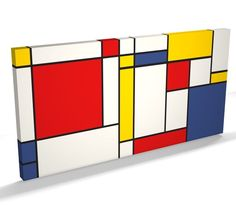 Abstract Mondrian Style Art Print WIDE CANVAS - v688