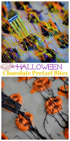 These Easy and Colorful Halloween Chocolate Covered Pretzel Bites are the perfect fun food treat for your fall or Halloween party. They are the perfect DIY Halloween treat for both kids, and adults. Diy Halloween Gifts, Halloween School Treats, Halloween Food For Party, Diy Halloween Decorations, Holidays Halloween, Easy Halloween, Halloween Pretzels, Halloween Goodies, Halloween Table