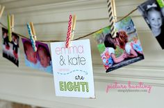 A Picture Bunting! Absolutely perfect for celebrations like birthdays, anniversaries, graduation, and more! Easy and adorable!  #simplykierste #birthdayideas #bunting #banners #pictureideas