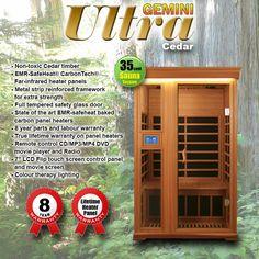Gemini Far Infrared Sauna - Cedar. http://www.healthstartsaunas.com.au/gemini-infrared-sauna.html