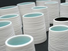 by Rosanna Martin Ceramics (wrap string around freshly thrown clay?)