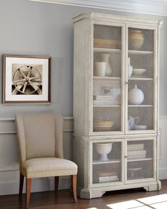 Brian Cabinet, Single, Painted Gray. Unusual metal mesh panels and striking proportions. 45x20x95
