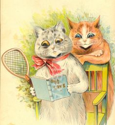 Two cats studying tennis manual by Louis Wain 1903.