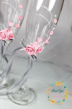 Pink&Grey wedding champagne glasses with a beautiful by ArtsLux