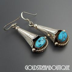 NATIVE AMERICAN VINTAGE NAVAJO STERLING SILVER TURQUOISE SQUASH BLOSSOM DANGLE HOOK EARRINGS