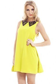 LIME PEFORATED COLLAR SWING DRESS shopmodmint.com