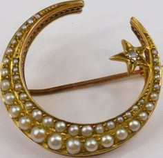 Victorian solid 15ct gold Diamond & Pearl cresent brooch