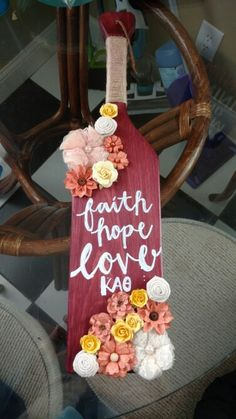 Rustic theta sorority paddle craft with flowers