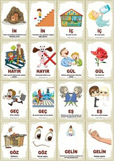 Turkish Lessons, Learn Turkish Language, Articulation Activities, Erdem, Vocabulary, Kindergarten, Education, Math, Learning