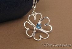 4leaf clover pendant sterling silver and CZ by TDNCreations, $60.00