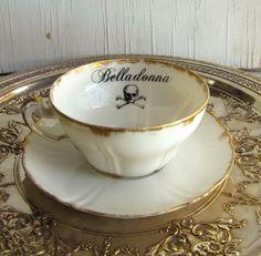Poison Tea cup Belladonna Altered vintage china by AustinModern, $38.00