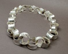 Silver anticlastic linked necklace...lots of fun to make  www.jonathandeer.co.uk