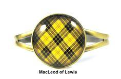 Scottish Tartan Jewelry - Ancient Romance Series - MacLeod of Lewis Tartan Split Cuff Bracelet by DivaDesignsInc on Etsy